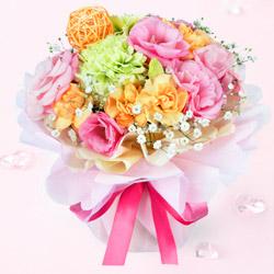 誕生日フラワーギフトフラワーギフト・花*はなブーケ(ふわふわピンク)