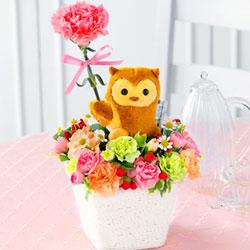 母の日フラワー・ふくろうマスコット付きアレンジメント(ピンク)