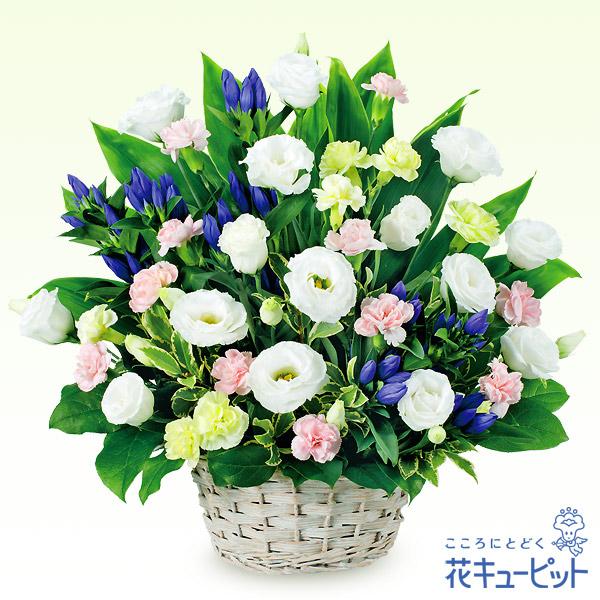 【お盆】お供え用のアレンジメントやわらかい印象の花と凛としたリンドウ