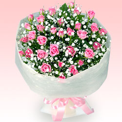 ピンクバラの花束