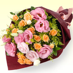 第6位★オレンジバラとトルコキキョウの花束