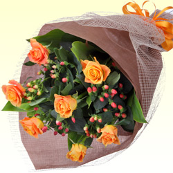 第9位★オレンジバラの花束