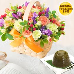 秋のバスケットと【果子乃季】琴名水仕立て 水羊羹(小野茶)