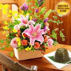 ★2位★秋の華やかアレンジメントと【果子乃季】琴名水仕立て 水羊羹(小野茶)