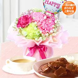 【受付延長】花*はなブーケと【ホテルオークラ】カレー&スープセット